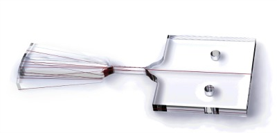 CAD modeling of a flexure vibrating over a +- 10 degree range: In this CAD model, the optical waveguide (shown in red) is oversized for clarity.